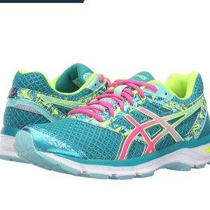 Asics Seafoam Green and Neon Running Shoes